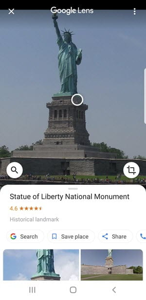 Using Google Lens with a place