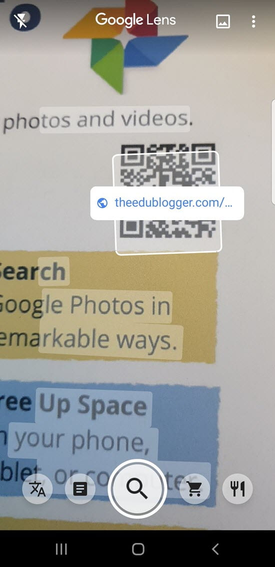 Reading QR codes using Google Lens