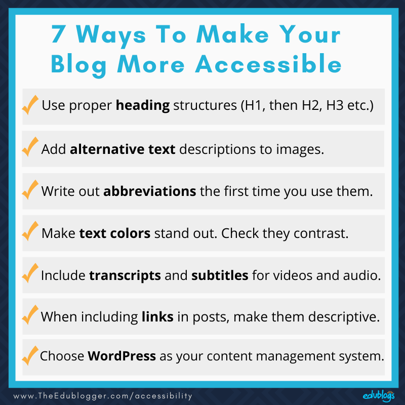 Summary graphics of 7 Ways To Make Your Blog More Accessible as explained in the post below