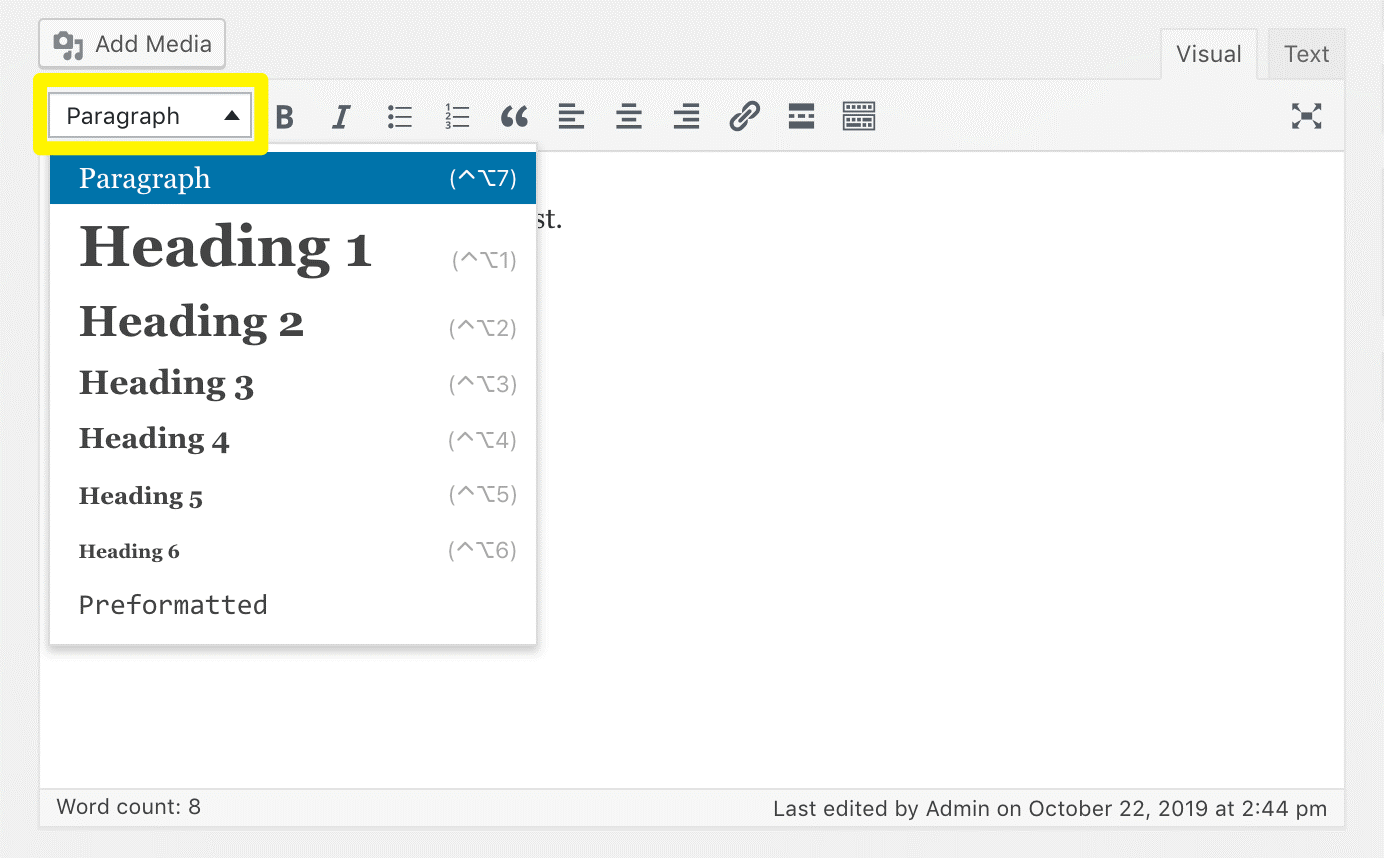 Click on the drop down menu to select Heading 1, 2, 3 etc (screenshot of Visual editor)