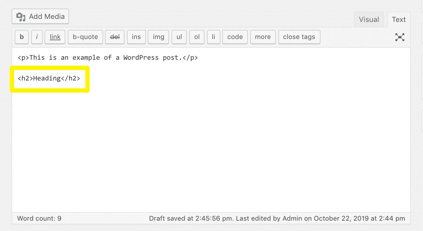 Example of using the HTML code to add Headings to text when writing a blog post (screenshot)