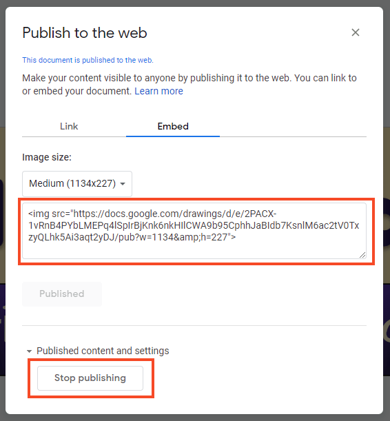 Publish to the web embed code (screenshot)