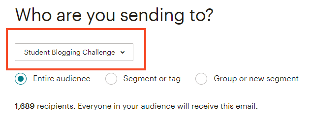 Select your audience for the RSS campaign