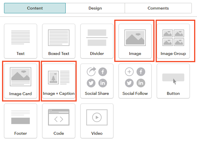 Drag over an image block from the right-hand side in Mailchimp (screenshot)