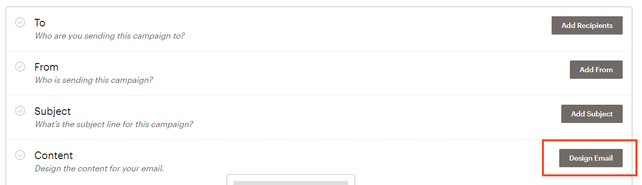 Screenshot of design email button