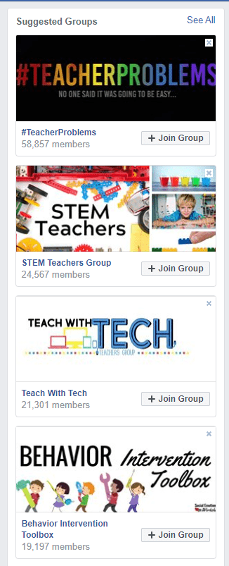 Screenshot showing suggested Facebook groups