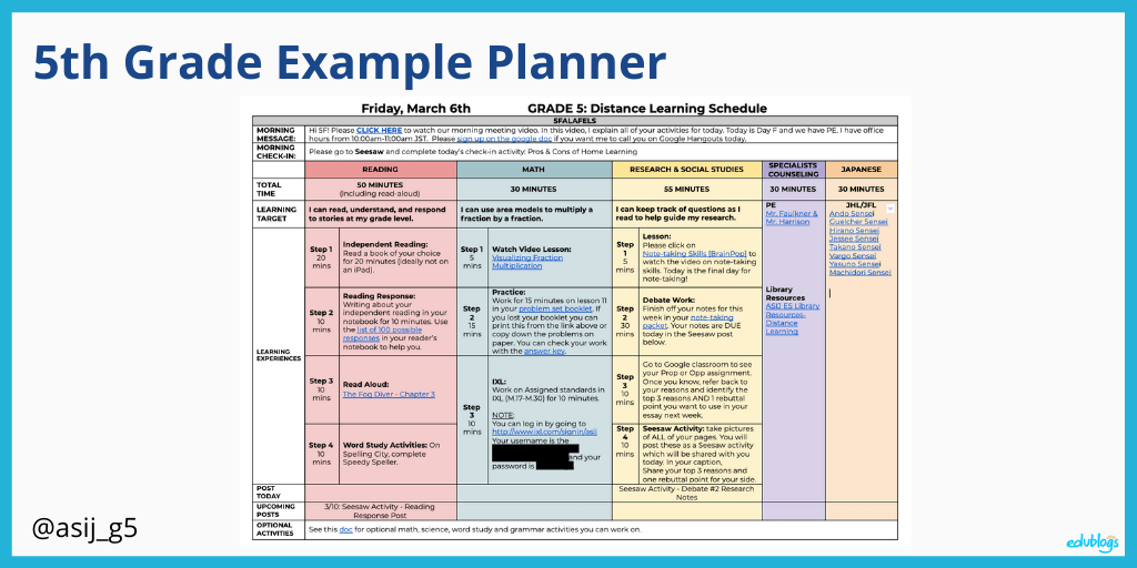 5th grade example planner as explained in the post (screenshot of timetables)