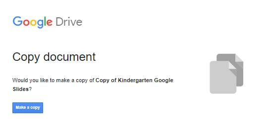 Screenshot of Google Slides copy prompt