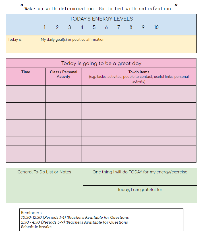 Google Doc planner for students (screenshot)