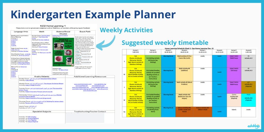 Kindergarten example planner as explained in the post (screenshot of timetables)