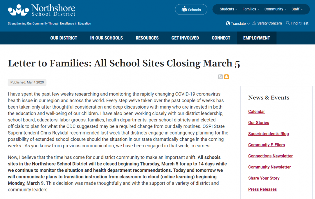 Screenshot of Northshore school district closure announcement