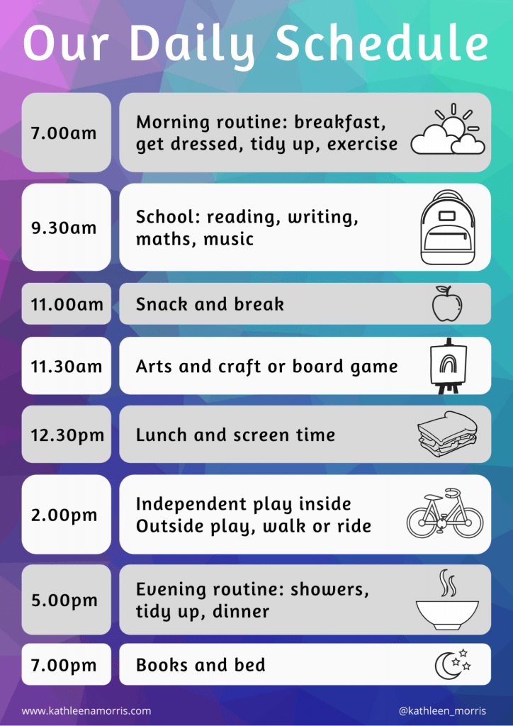 Sample daily schedule for parents homeschooling their young children at home -- Kathleen Morris