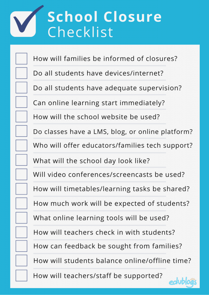 Checklist of items that schools may need to discuss when planning for a school closure due to COVID-19 Coronavirus Edublogs