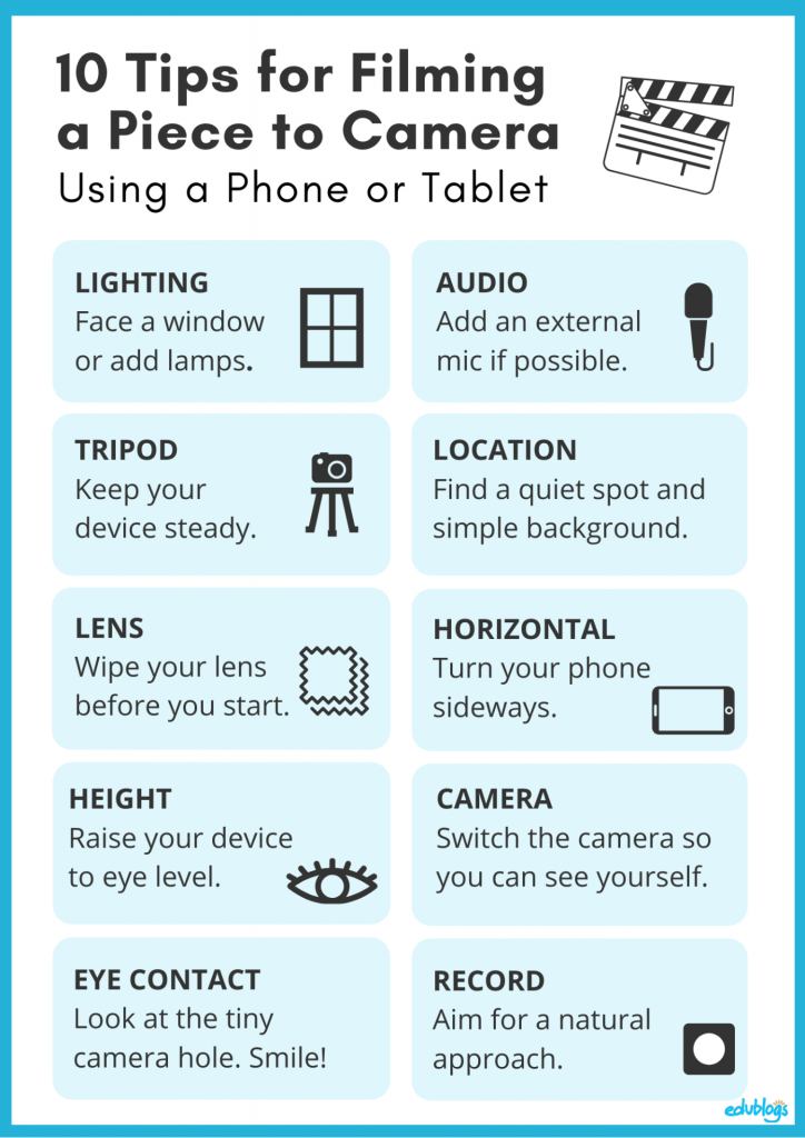 10 Tips For Filming A Piece To Camera On A Phone Or Tablet as described in the post (Edublogs)