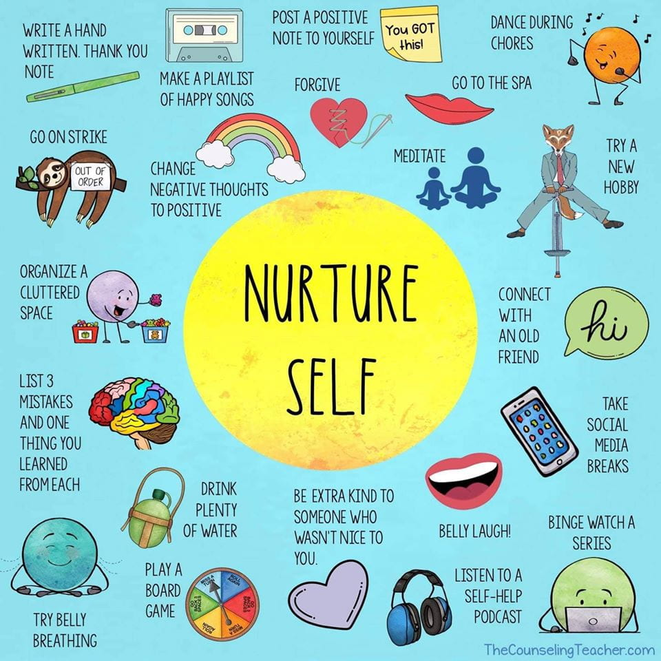 Graphic self care ideas for teachers