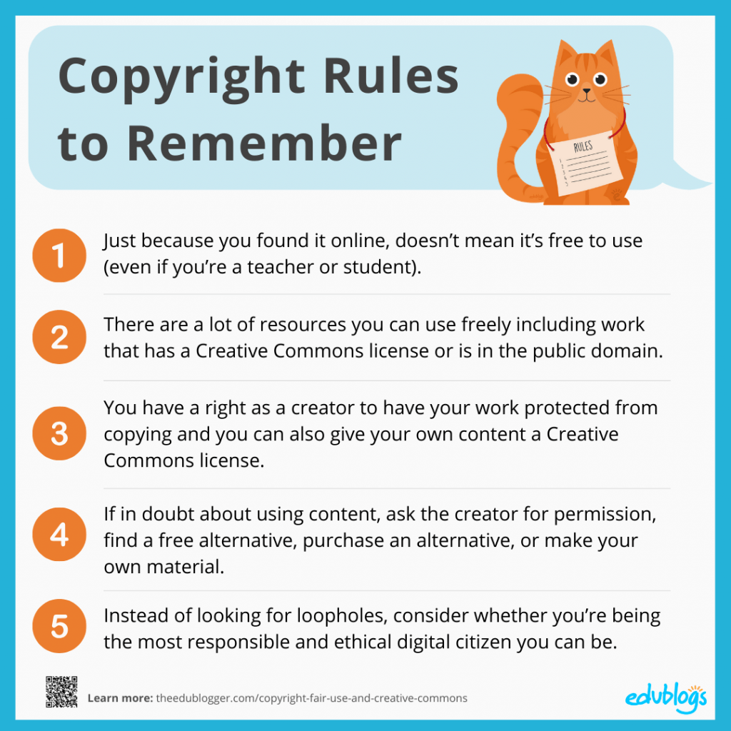 Graphic showing the 5 copyright tips as listed above.
