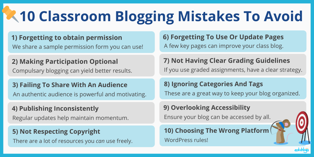 Summary of the 10 mistakes to avoid as written above