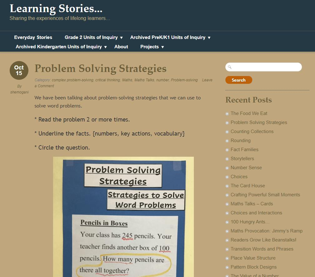 Screenshot of Learning Stories class blog