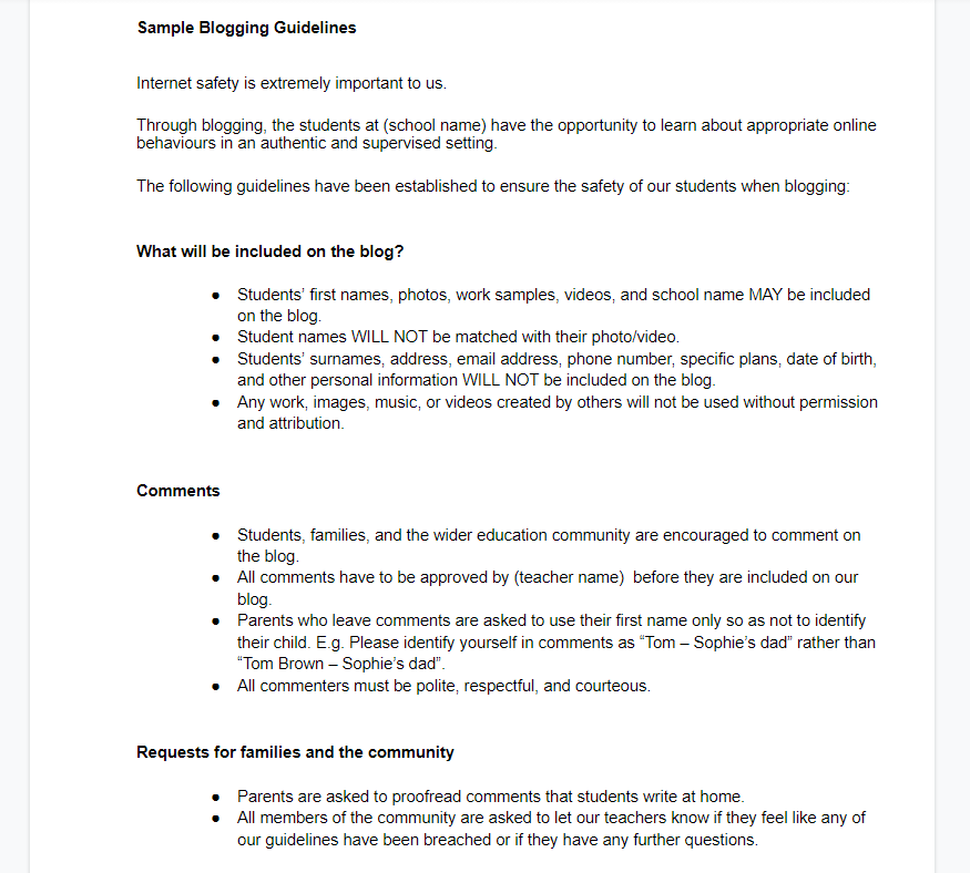 Screenshot of sample blogging guidelines as linked to in the post
