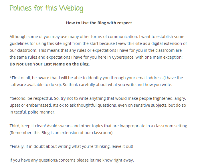 Screenshot of blogging guidelines for the Electronic Pencil blog.