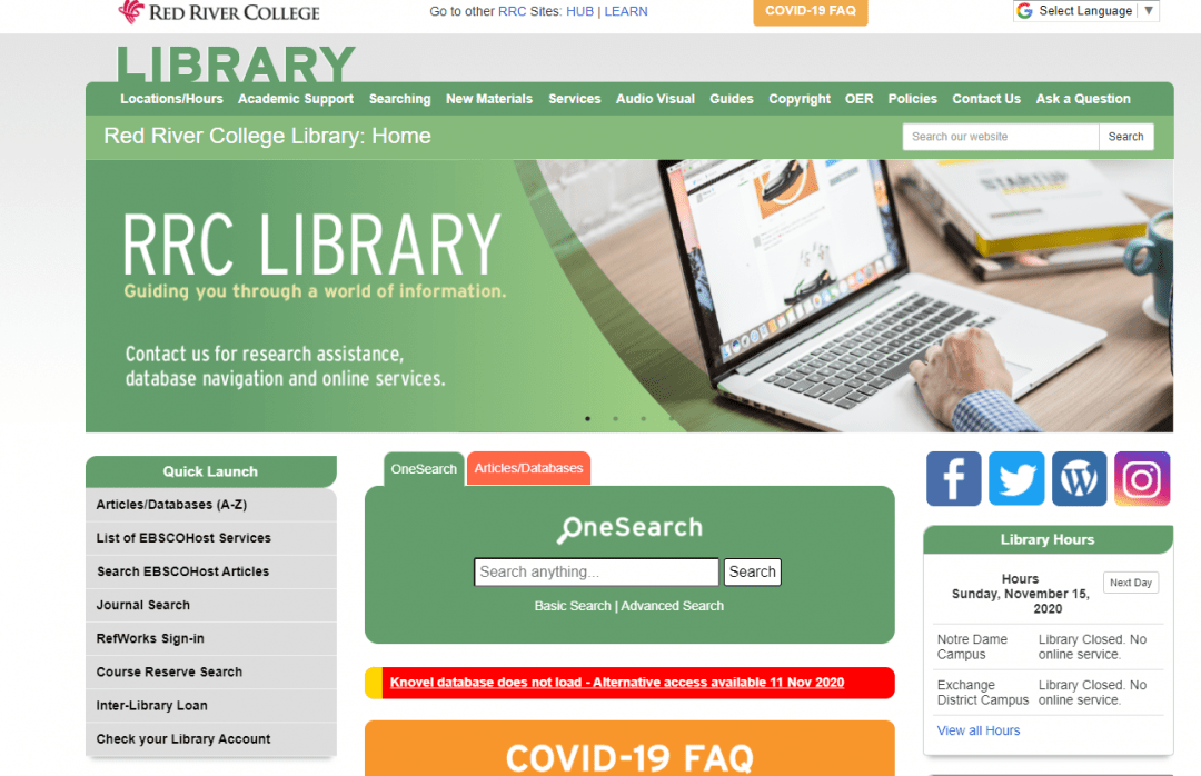 Red River College Library screenshot