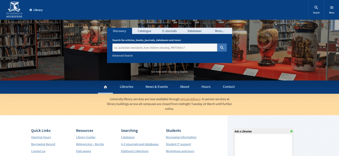 Screenshot of Melbourne University website